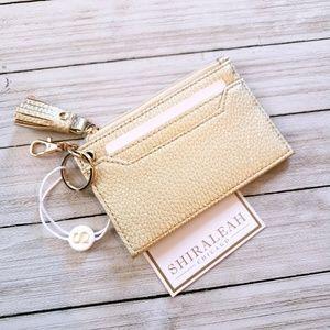 Shiraleah Vegan Gold Leather Card Holder Keychain